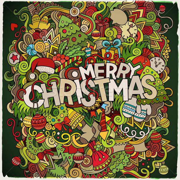 ストックフォト: 陽気な · クリスマス · 手 · 要素 · ベクトル