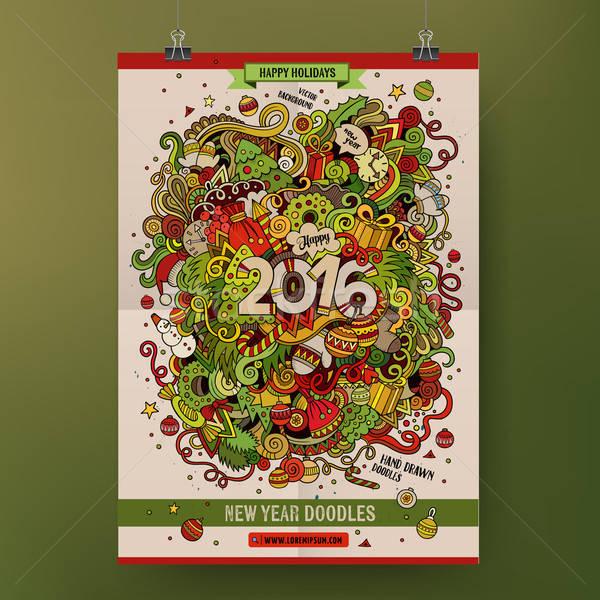 Cartoon coloré 2016 nouvelle année dessinés à la main Photo stock © balabolka