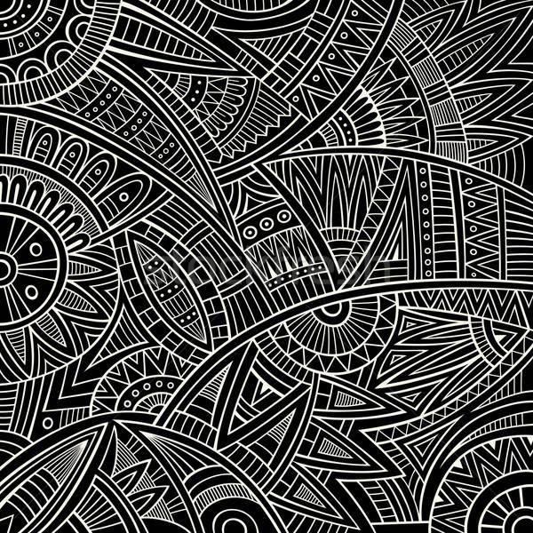 Absztrakt vektor törzsi kisebbségi vonal művészet Stock fotó © balabolka