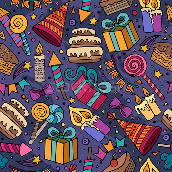 Cartoon hand-drawn doodles on the subject holidays, birthday the Stock photo © balabolka