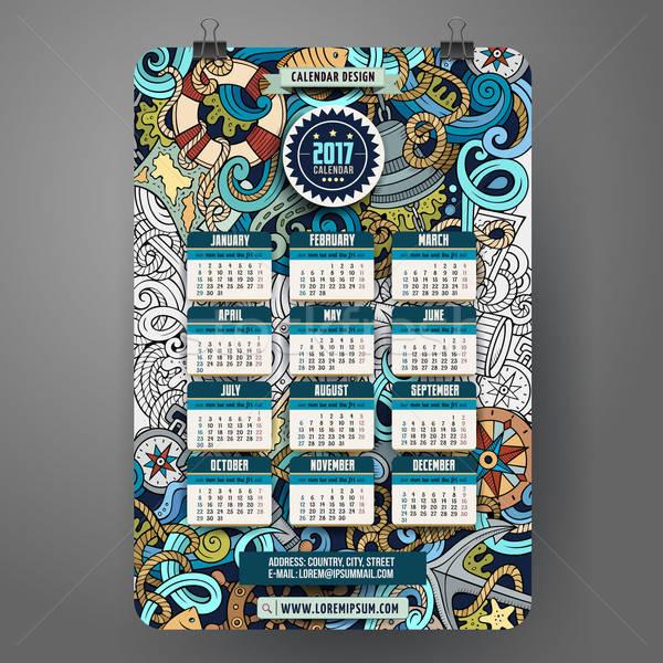 Rajz firkák tengerészeti naptár színes kézzel rajzolt Stock fotó © balabolka