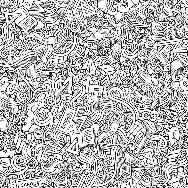 Stock fotó: Rajz · aranyos · firkák · iskola · végtelen · minta · kézzel · rajzolt