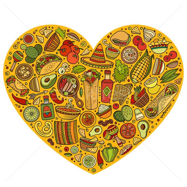 Szett mexikói étel rajz firka tárgyak színes Stock fotó © balabolka