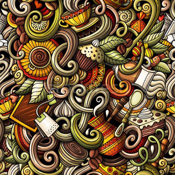 Desenho animado café café detalhado Foto stock © balabolka