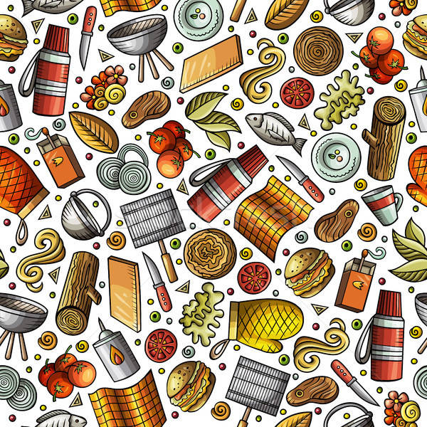 Stock photo: Cartoon cute hand drawn Picnic seamless pattern