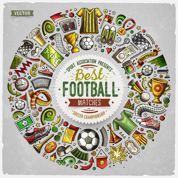 Set of vector cartoon doodle Football objects collected in a round border Stock photo © balabolka