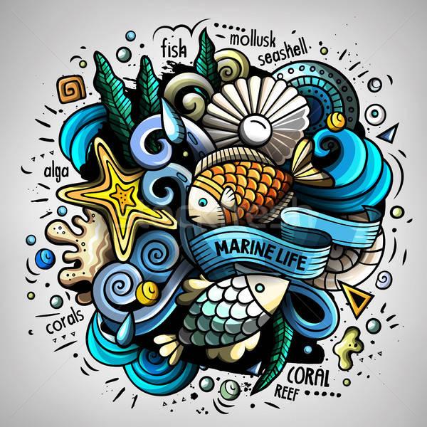 Cartoon vector doodles Underwater world illustration Stock photo © balabolka