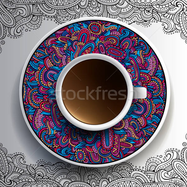 杯 咖啡 手工繪製 裝飾 茶托 商業照片 © balabolka
