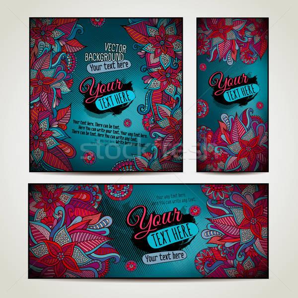 Abstract vector decorative floral background set. Stock photo © balabolka