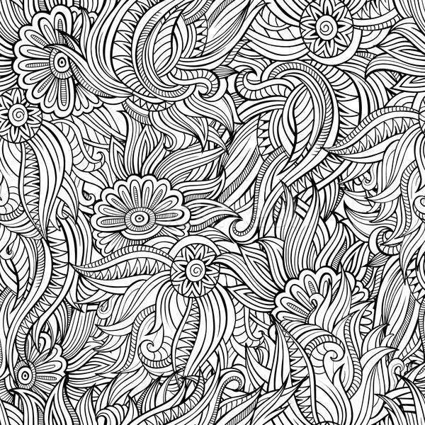 Foto stock: Vetor · sem · costura · abstrato · flores · padrão · belo