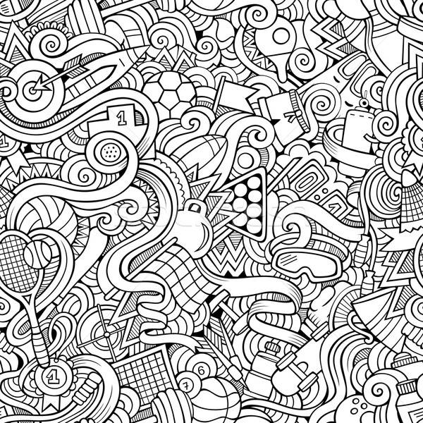 Cartoon hand-drawn doodles sports seamless pattern Stock photo © balabolka