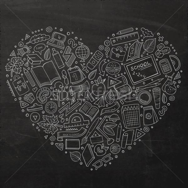 Desenho animado de volta à escola objetos conjunto quadro-negro vetor Foto stock © balabolka