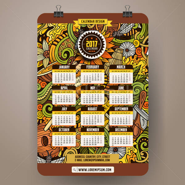 Cartoon hand drawn doodles Honey 2017 year calendar template Stock photo © balabolka