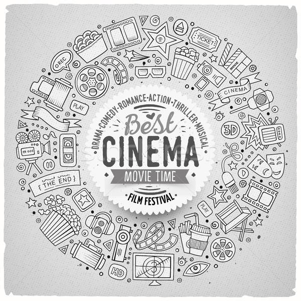 Set of Cinema cartoon doodle objects Stock photo © balabolka