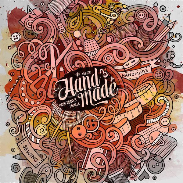 Rajz aranyos firkák kézzel rajzolt kézzel készített illusztráció Stock fotó © balabolka
