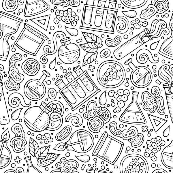 Stock photo: Cartoon cute hand drawn Science seamless pattern