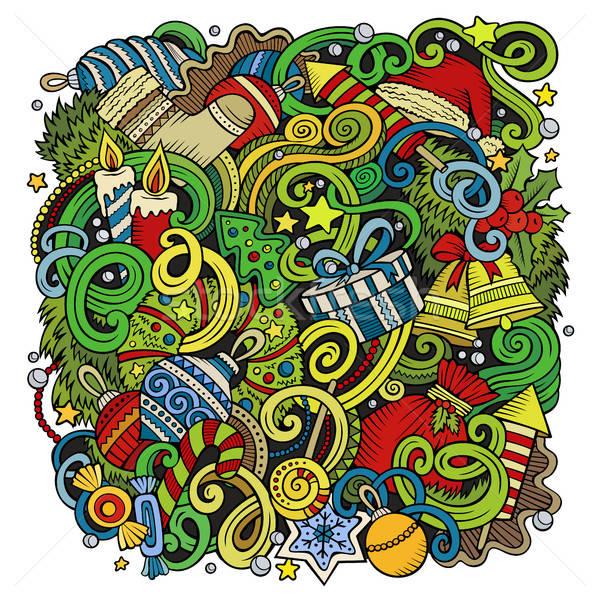 Cartoon cute doodles New Year illustration Stock photo © balabolka