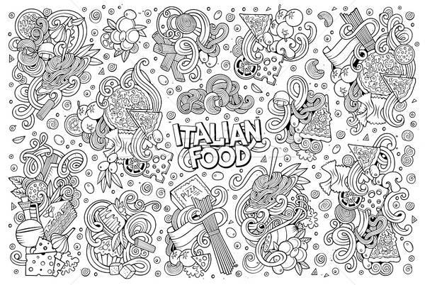 линия искусства вектора Cartoon набор итальянской кухни Сток-фото © balabolka