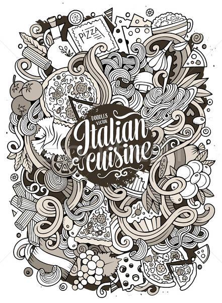 Foto d'archivio: Cartoon · scarabocchi · cucina · italiana · illustrazione · cute