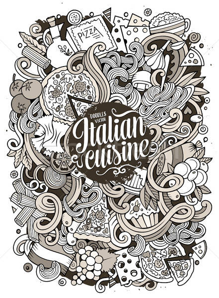 Cartoon garabatos comida italiana ilustración cute dibujado a mano Foto stock © balabolka