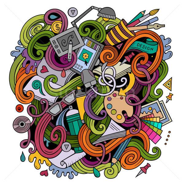 Stock fotó: Rajz · aranyos · firkák · terv · illusztráció · kézzel · rajzolt