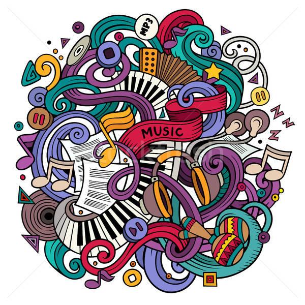 Karikatür karalamalar müzikal örnek renkli ayrıntılı Stok fotoğraf © balabolka