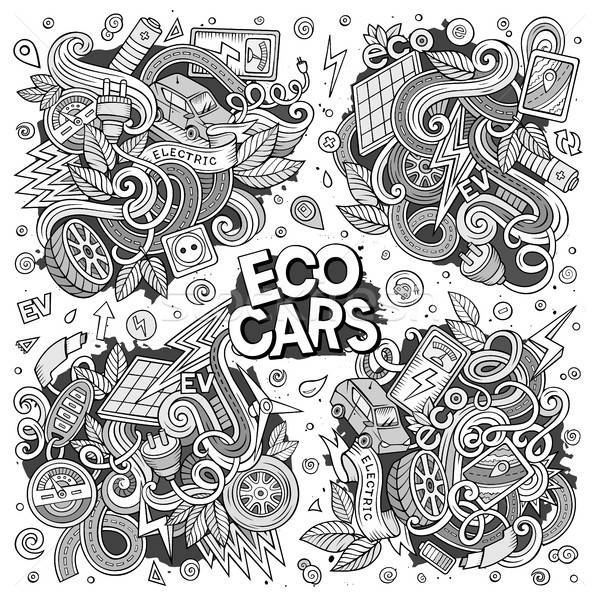 Line art vector doodle cartoon set of Electric cars objects Stock photo © balabolka