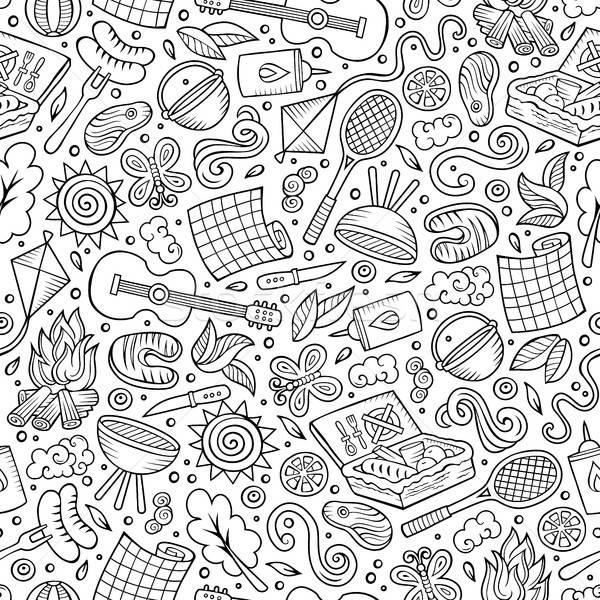 Stock fotó: Rajz · aranyos · kézzel · rajzolt · piknik · végtelen · minta · vonal