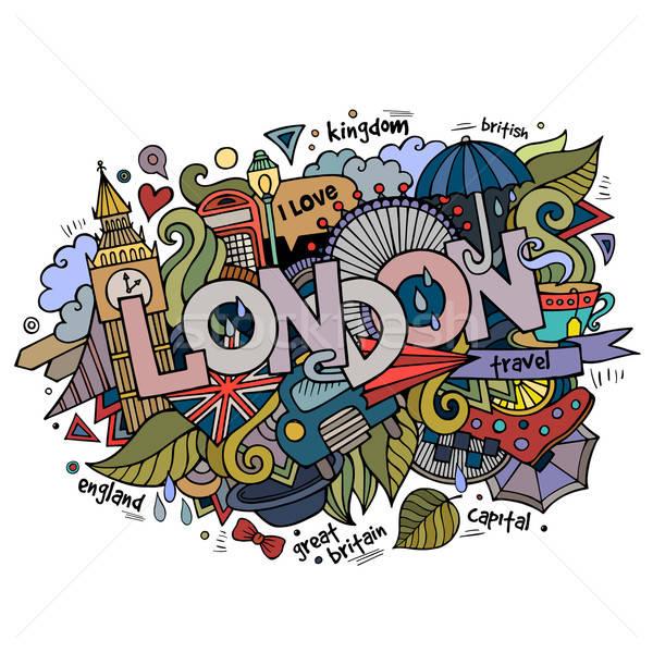 London kéz firkák elemek szeretet város Stock fotó © balabolka