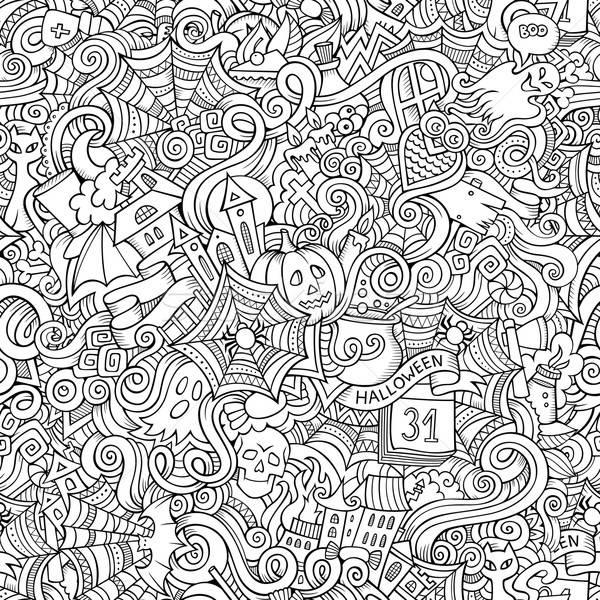 Cartoon vector hand-drawn Doodles on the subject of Halloween Stock photo © balabolka