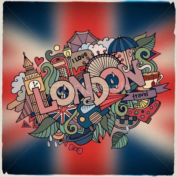London kéz firkák elemek város szimbólumok Stock fotó © balabolka
