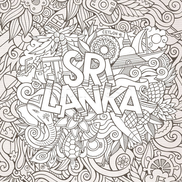 Sri Lanka country hand lettering and doodles elements  Stock photo © balabolka
