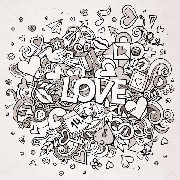 漫畫 向量 手工繪製 塗鴉 愛 插圖 商業照片 © balabolka