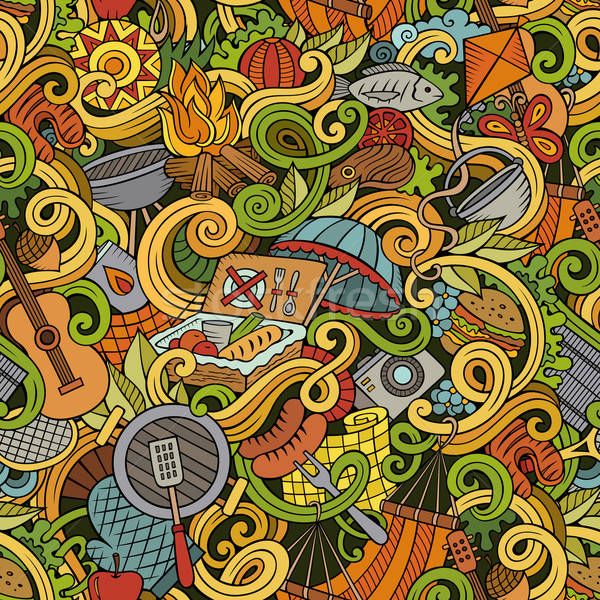 Desenho animado piquenique detalhado objetos Foto stock © balabolka