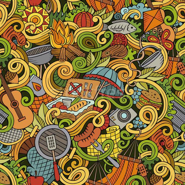 Karikatur Picknick Kritzeleien detaillierte Objekte Stock foto © balabolka