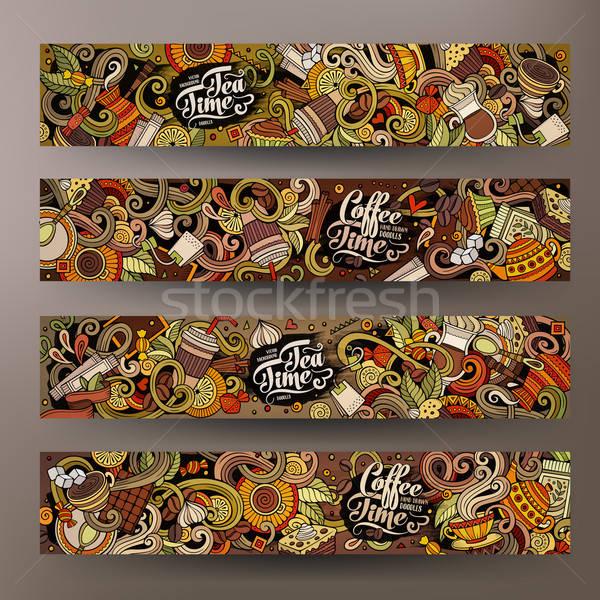 Desenho animado linha arte café banners Foto stock © balabolka