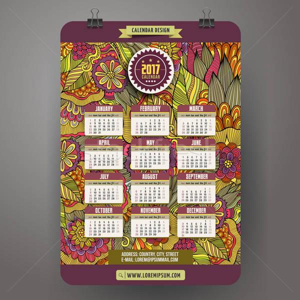 Cartoon doodles floral 2017 year calendar Stock photo © balabolka