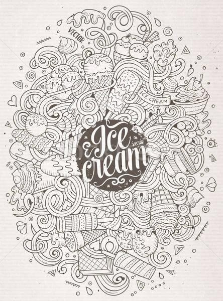 Cartoon doodles ice cream illustration Stock photo © balabolka