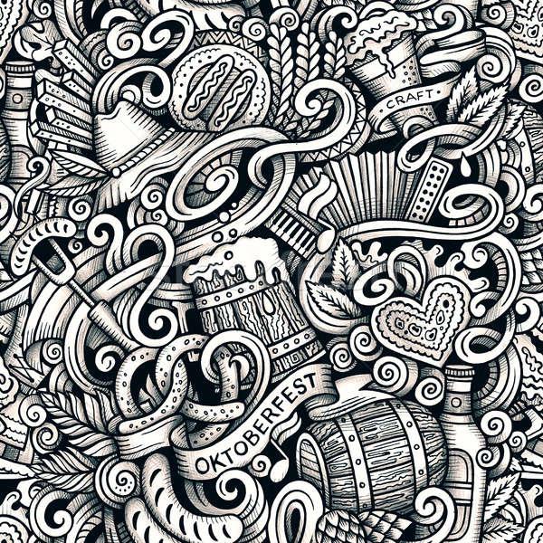 Cartoon hand-drawn doodles Octoberfest seamless pattern Stock photo © balabolka