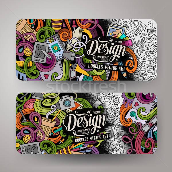 Stockfoto: Cartoon · vector · artistiek · banners · kleurrijk