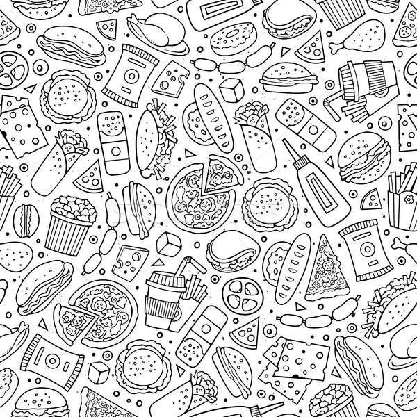 Cartoon cute hand drawn Fast food seamless pattern. Stock photo © balabolka