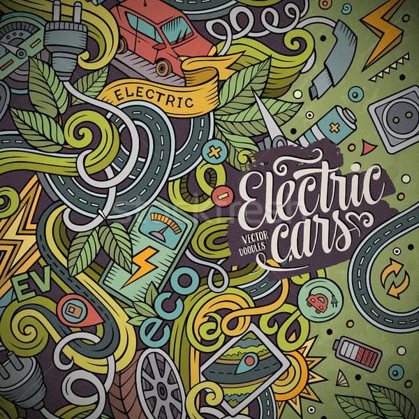 Desenho animado elétrico carros quadro projeto Foto stock © balabolka