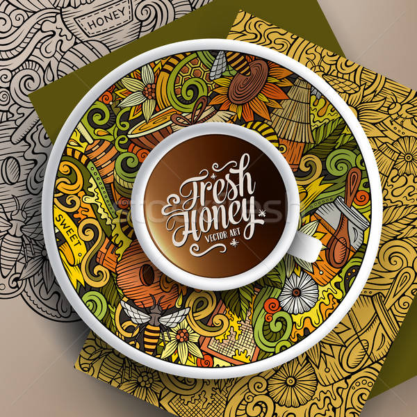 Cup of coffee Honey doodles on a saucer, paper and background Stock photo © balabolka