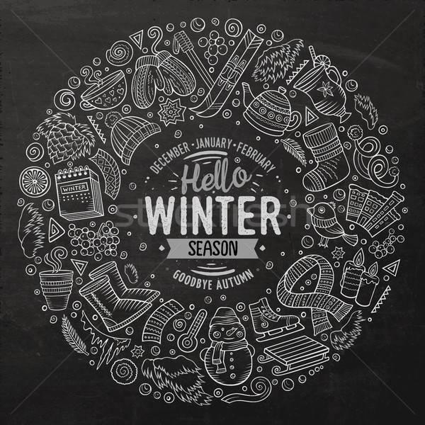 Stok fotoğraf: Ayarlamak · kış · karikatür · karalama · nesneler · semboller