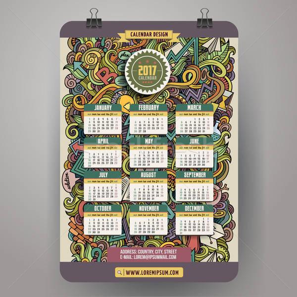 Cartoon doodles Idea 2017 year calendar Stock photo © balabolka