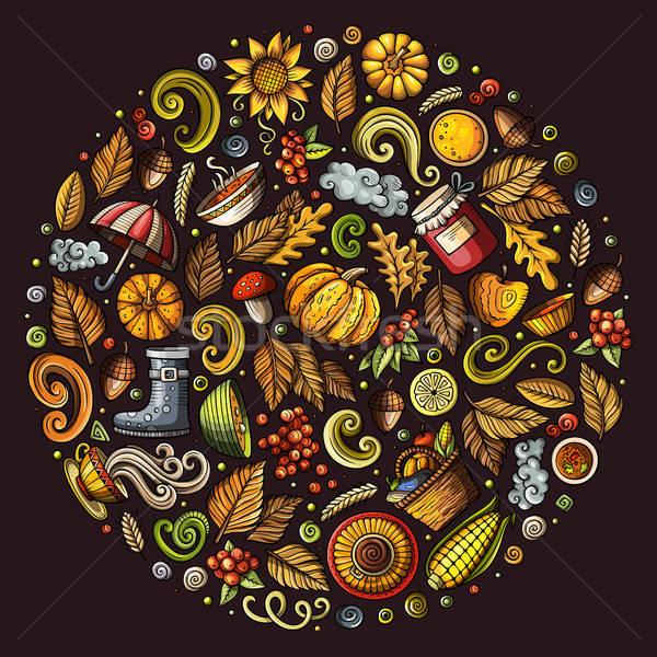 Stock fotó: ősz · rajz · firka · tárgyak · szimbólumok · színes