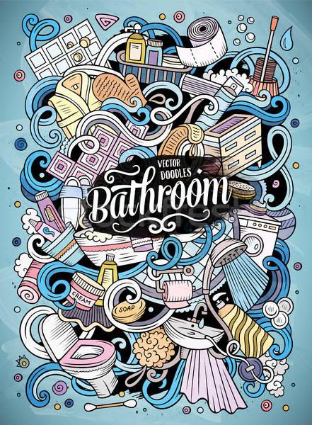 Stock fotó: Rajz · aranyos · firkák · fürdőszoba · illusztráció · kézzel · rajzolt