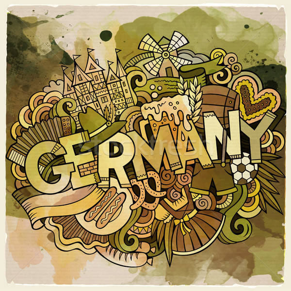 Cartoon cute doodles hand drawn Germany inscription Stock photo © balabolka