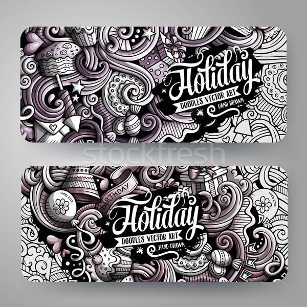 Cartoon graphics vector hand drawn doodles Holidays banners design. Stock photo © balabolka