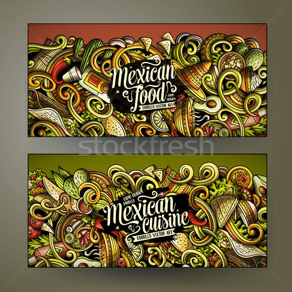 Cartoon vector garabatos comida mexicana horizontal banners Foto stock © balabolka